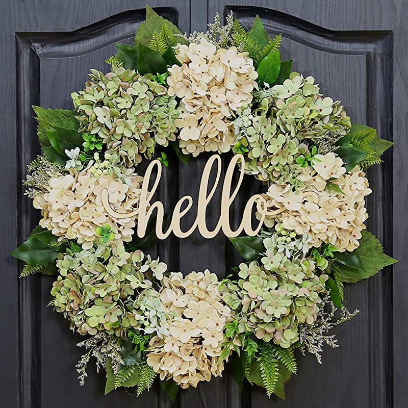 QUNWREATH Handmade Floral 18 Inch Green Hydrangea Series Wreath Gifts Package Spring Wreath Wreath For Front Door Rustic Wreath Farmhouse Wreath Grapevine Wreath Light Up Wreath Everyday Wreath QUNW60