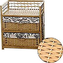 MAHFEI Storage Basket Box, Country Style Rattan Drawer Storage Cabinet Hand Weaving Bedside Cabinet Floor-standing Childre...