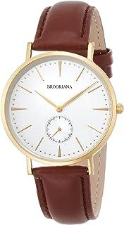 [ブルッキアーナ]BROOKIANA ラウンドスリム 薄型 36mm スモールセコンド ゴールドホワイト×ブラウンレザーベルト 腕時計 BA3101-GWLBR