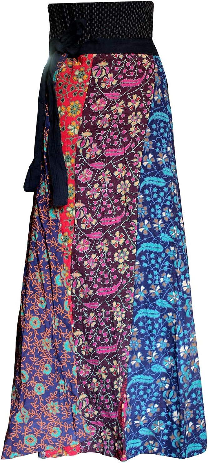 Lakkar Haveli Women's Patchwork Long Skirt Party Wear Gypsy Casual Boho Girl's Beach Wear Multi Color