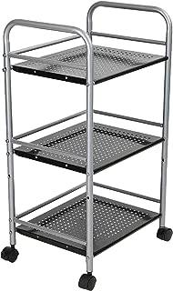 Mind Reader HOLECART3-SIL 3 Tier Metal Storage Box, 3 shelf, Black