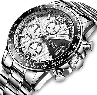 腕時計 メンズ時計 ホワイト ステンレススチール防水 クロノグラフ腕時計 多針アナログクオーツウオッチ ルミナス夜光 日付表示 ラグジュアリー おしゃれ ビジネス カジュアル メタル紳士腕時計