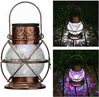Go2garden Solar Lantern Outdoor Hanging Garden Lights, Decorative Rainbow Lamp Metal&Glass for Patio Tabletop Decorations (Bronze,3 Lumens)