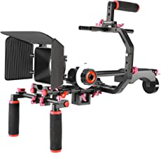 Neewer Film Movie Video Making System Kit for Canon Nikon Sony and Other DSLR Cameras Video Camcorders, Includes: C-Shaped Bracket,Handle Grip,15mm Rod,Matte Box,Follow Focus,Shoulder Rig (Red+Black)