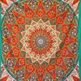 MOMOMUS Tapiz Mandala - Estrella - 100% Algodón, Grande, Multiuso - Colcha / Foulard / Tela Ideal como Cubre Sofá o Cubrecamas - Naranja, 210x230 cm
