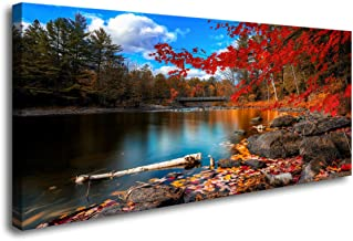 S72650 Canvas Wall Art Canvas Artwork Lake Mountain Red Maple Leaf National Park Nature Pictures for Living Room Bedroom Office Wall Decor Home Decoration