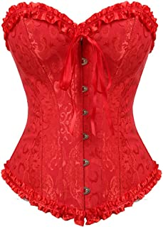 Kranchungel Women's Bustier Corset Sexy Satin Brocade Overbust Waist Cincher Shapewear Top