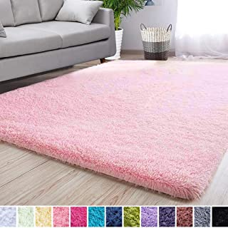 Noahas Super Soft Modern Shag Area Rugs Fluffy Living Room Carpet Comfy Bedroom Home Decorate Floor Kids Playing Mat 3 Feet by 5 Feet, Pink