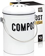 Granrosi Stylish Farmhouse Kitchen Compost Bin - 100% Rust Proof w/Non Smell Filters - Easy Clean 1.3 Gallon Container Loo...