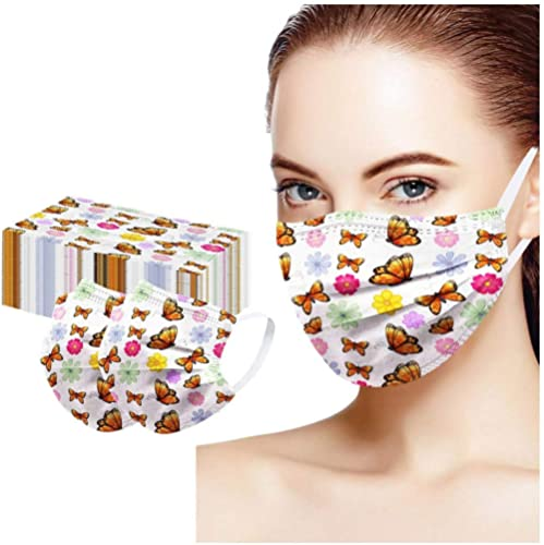 10 Pcs Disposable_Faceṁɑşḱ for Adults,Christmas Printed 3-Layer Elastic Ear Loops Breathable Fashion Full Face Bandanas