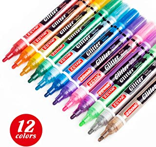 ZEYAR Glitter Paint Pens, Water-Based, Medium Point,12 Assorted Beautiful Colors, Great for Greeting Card, Posters, Albums, Gift Cards and ONLY Light-Colored Surfaces