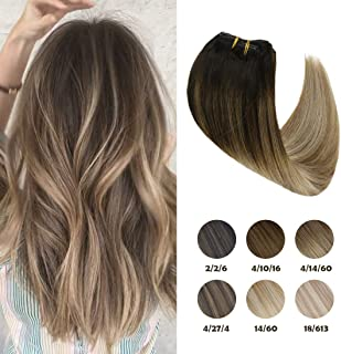Sunny Clip in Balayage Hair Extensions Human Hair 18 inch Clip in Ash Blonde Hair Extensions Double Weft Clip in Hair Dark Brown Fading to Light Brown and Ash Blonde 120g 7pcs