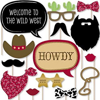 Big Dot of Happiness Little Cowboy - Western Photo Booth Props Kit - 20 Count