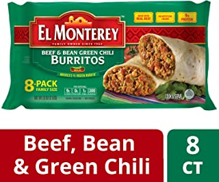 El Monterey Beef and Bean Green Chili Burritos – Family Pack of 8 Frozen Burritos, Made with Real Beef, No Artificial Colors, Perfect for Quick Family Meals (8 Count)