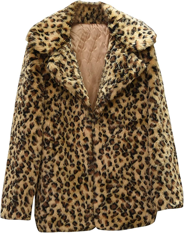 2021 Autumn and winter Women Mid-length Suit Sexy Snow White Leopard Print Faux Coat