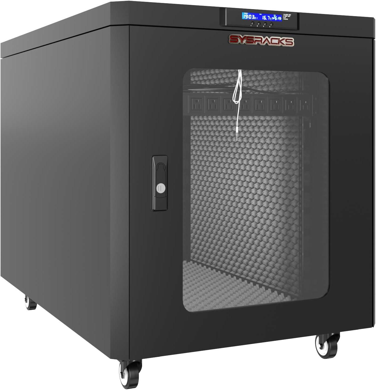 Soundproof Server Rack Cabinet Enclosure 15U 35 inch Depth Glass Door on Rollers