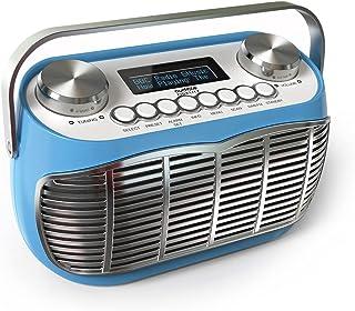 Detroit DAB Radio Alarm Clock Bedside Mains Powered Or Battery DAB/DAB+/FM Retro Radio with LCD Display Clock Radio (Blue)