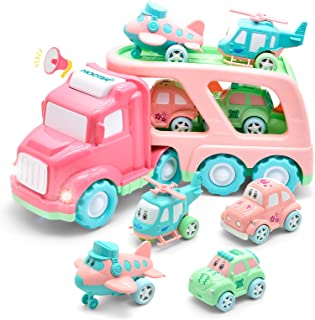 Cartoon Vehicles Toddler Girl Toys Friction Powered Pink Toy Car Carrier Transport Truck with Light & Sound 5 in 1 Toy Cars /Airplane /Helicopter Birthday Gift Toys for 1 2 Year Old Girl
