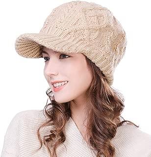 Fancet Womens Girl Knit Visor Beanie Newsboy Cap Winter Warm Hat Cold Snow Weather 56-59cm
