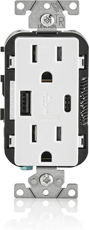 Leviton T5633 W 15 Amp Type A Type C USB Charger Tamper Resistant Receptacle Compatible With IPhone XS MAX XR X 8 7 6 IPad Samsung Galaxy S9 S8 S7 S6 Google Pixel And More White