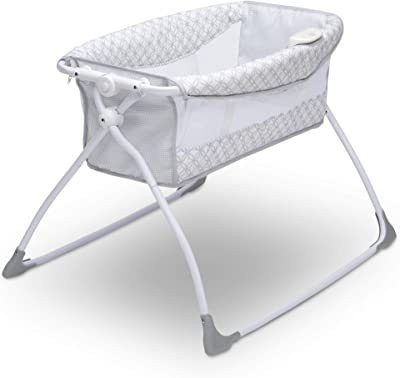 Delta Children Newborn Soothing Sleeper Bassinet - Portable Baby Crib with Compact Fold, Grey Infinity