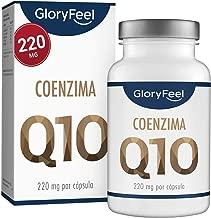 GloryFeel® Coenzima Q10-220mg por cápsula - 120 Cápsulas veganas de Calidad Premium - Q10 de Fermentación vegetal - Suministro para 4 meses - Hecho y aprobado por laboratorio en Alemania