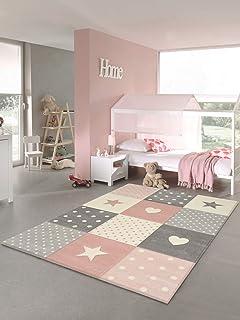 Tapis chambre enfant Etoiles (rose, 80 x 150 cm)