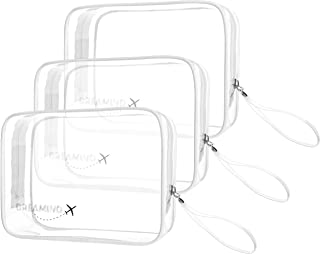 DREAMIND Clear Toiletry Bag TSA Approved Travel Makeup Carry On for Women Men 3-1-1 Liquids Quart Sized with Handle Strap ...