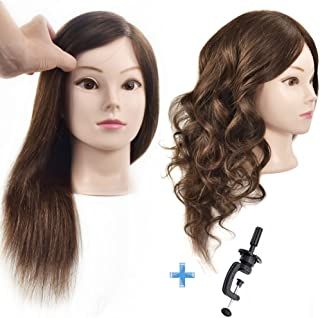 "Cosmetology 100% Human Hair Mannequin Head Manikin Training Head 16"" with Free Clamp"