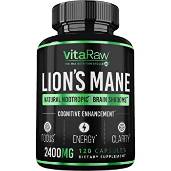 Organic Lions Mane Mushroom Capsules (2400mg   Powerful Nootropic) Brain Mushroom Supplement for Focus & Immune Support Pure Lion's Mane Mushroom Powder Extract - Brain Booster Memory & Energy Pills