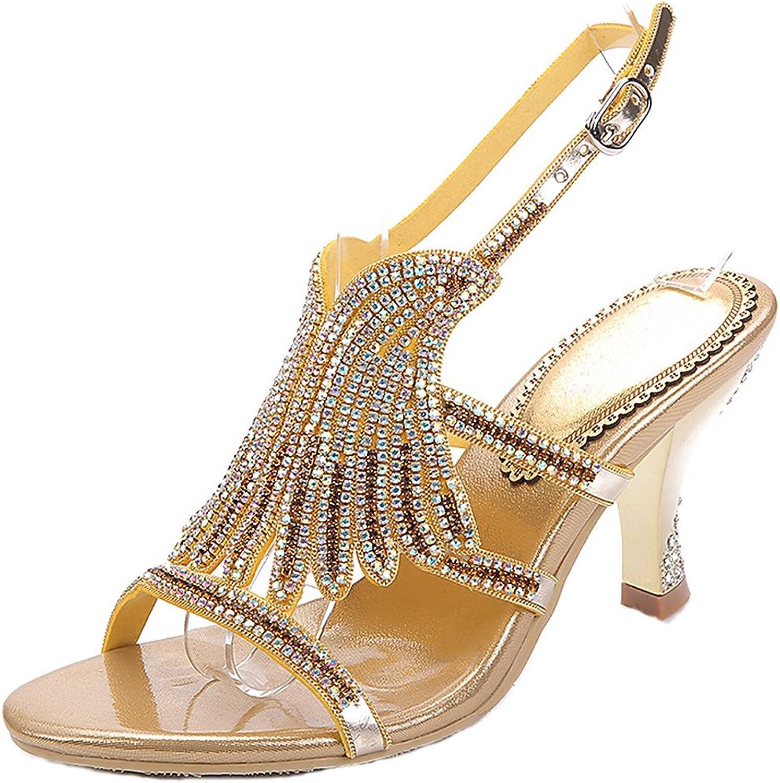 LizForm Sparkle Wedding Shield Sandals Rhinestone Studded Ankle Strap Evening High Heels