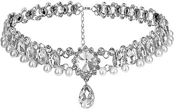 Fashion Womens Pearl Collar Crystal Diamond Chunky Choker Pendant Bib Necklace Birthday Christmas Gift with Exquisite Box