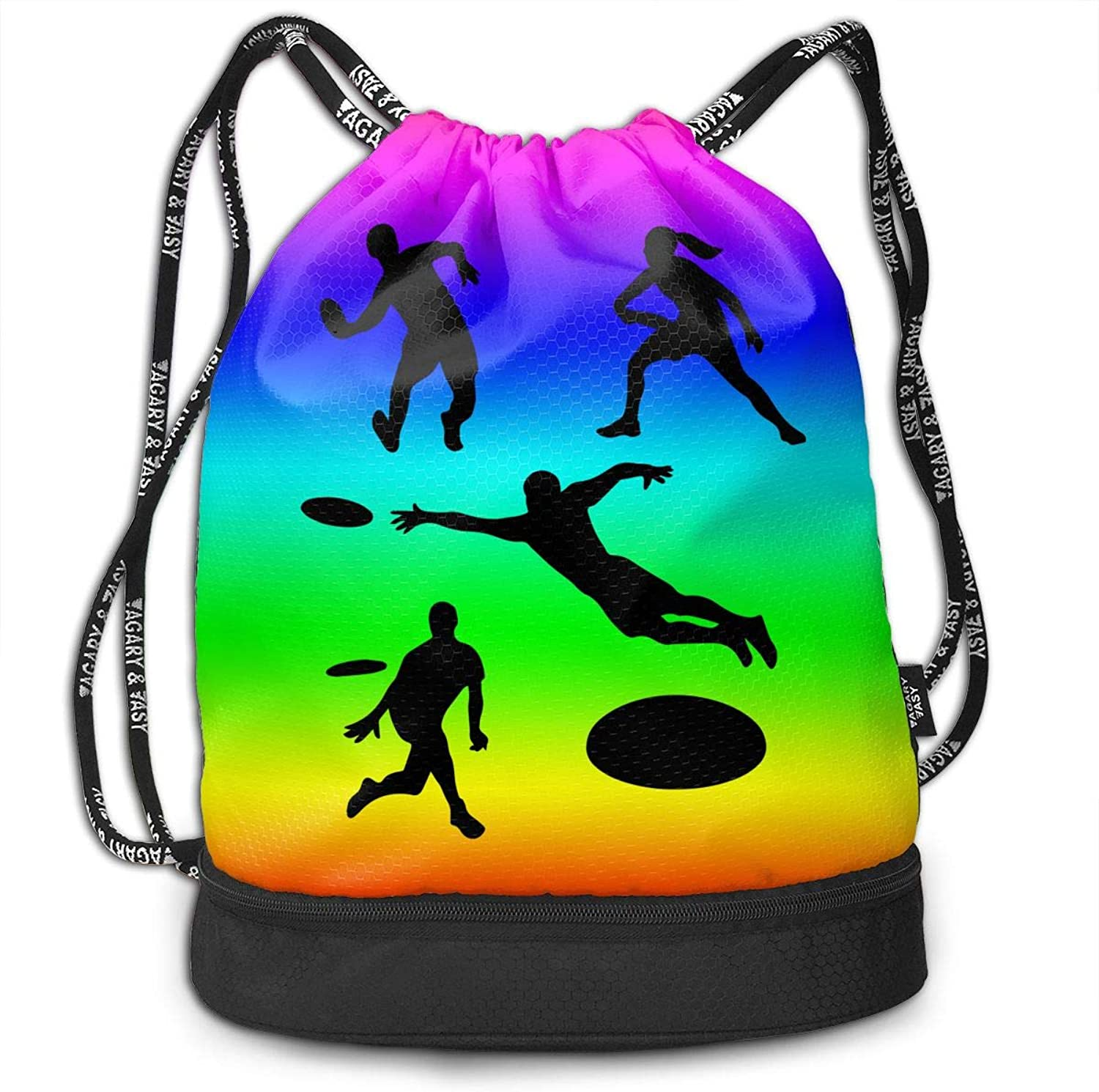 Drawstring Backpack Playing Ultimate Frisbee Silhouettes Rucksack