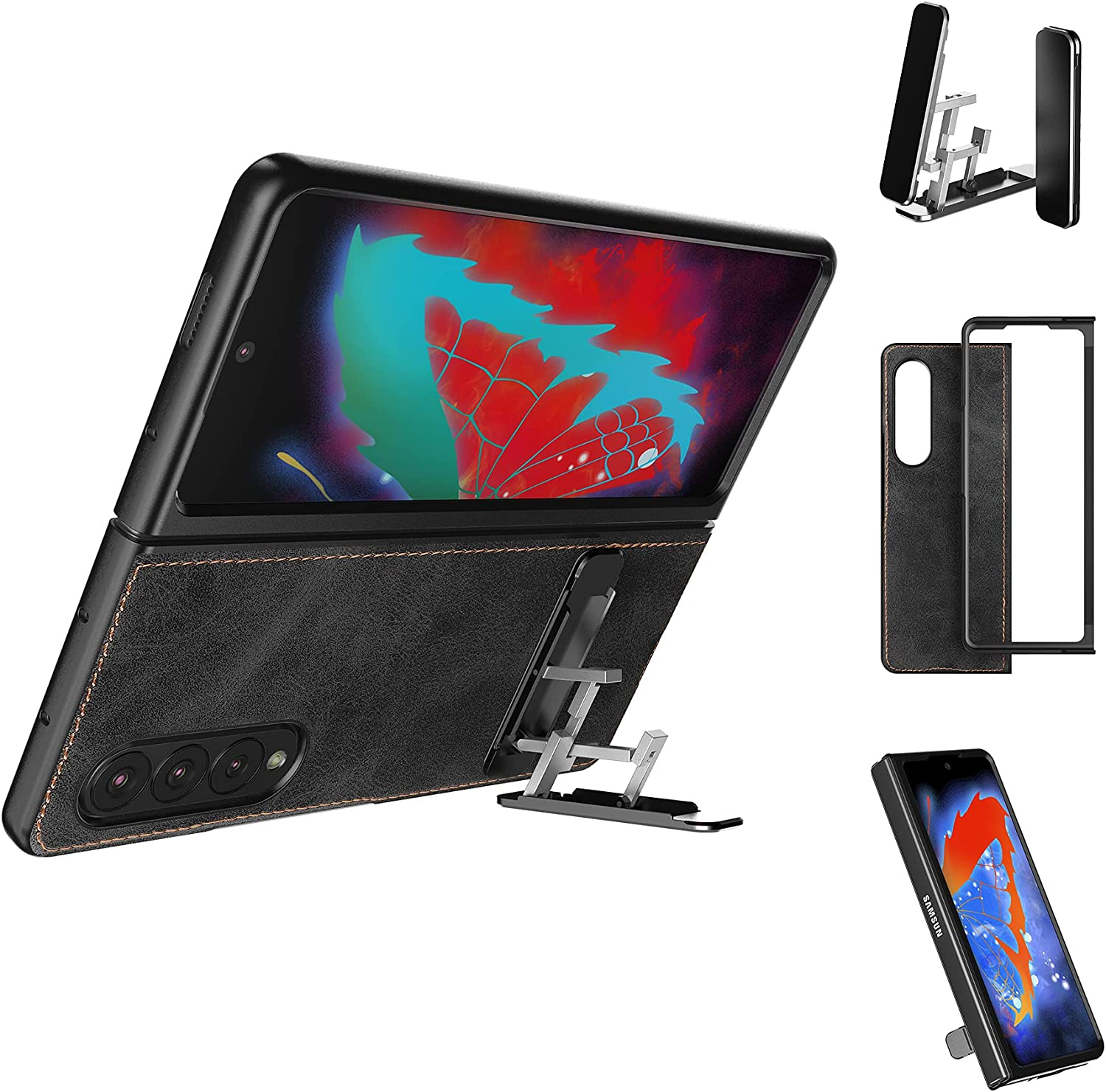 Cresee Case for Samsung Galaxy Z Fold 3 5G + Kickstand, PU Leather Back Cover & Hard PC Front Bumper Protective Shell Thin Fit Phone Case Stand for Galaxy Z Fold3 2021 - Black