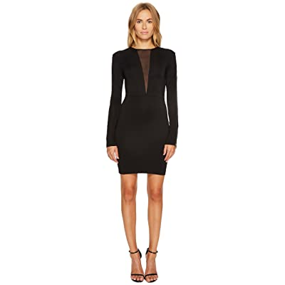 Just Cavalli Jersey V Mesh Long Sleeve Dress (Black) Women