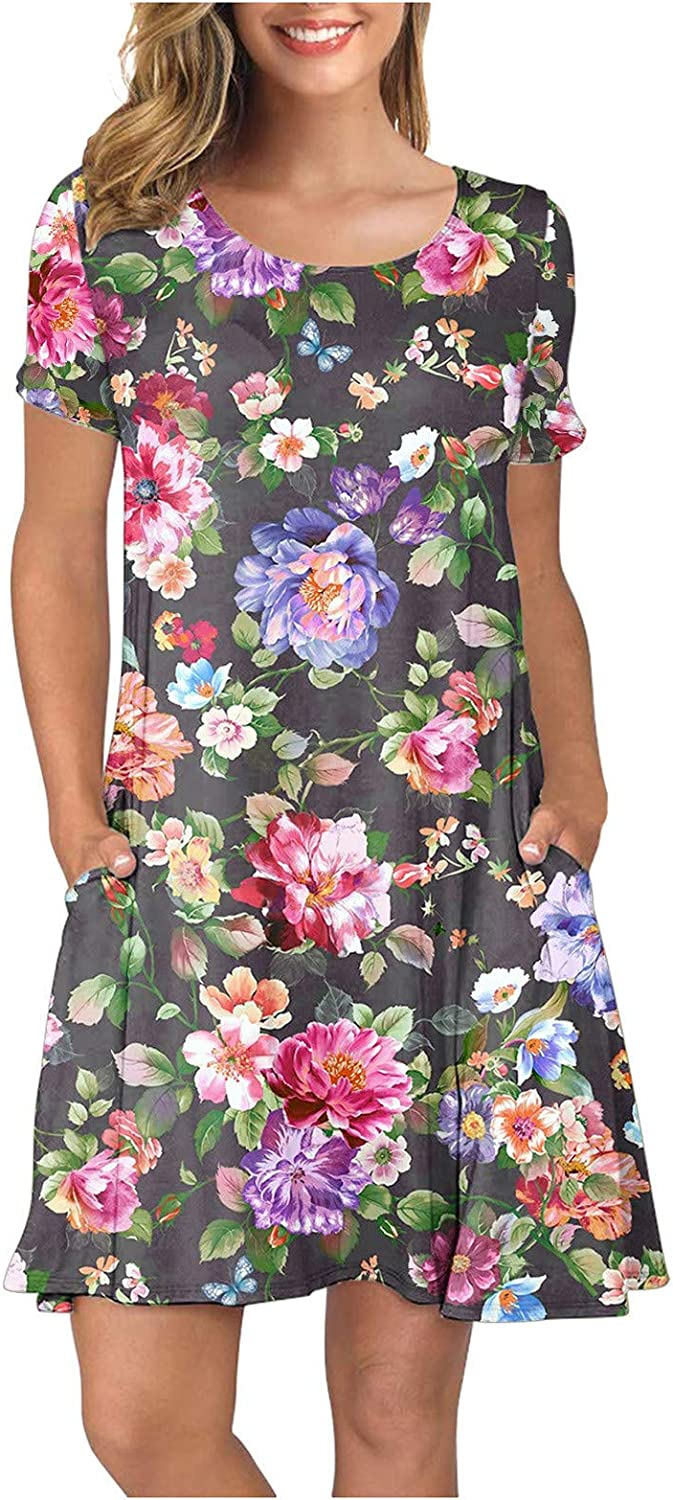 Mini Dress for Women,Women Summer Casual Short Sleeves Cover Up Dresses Sun Dresses for Beach Cocktail Wedding Party