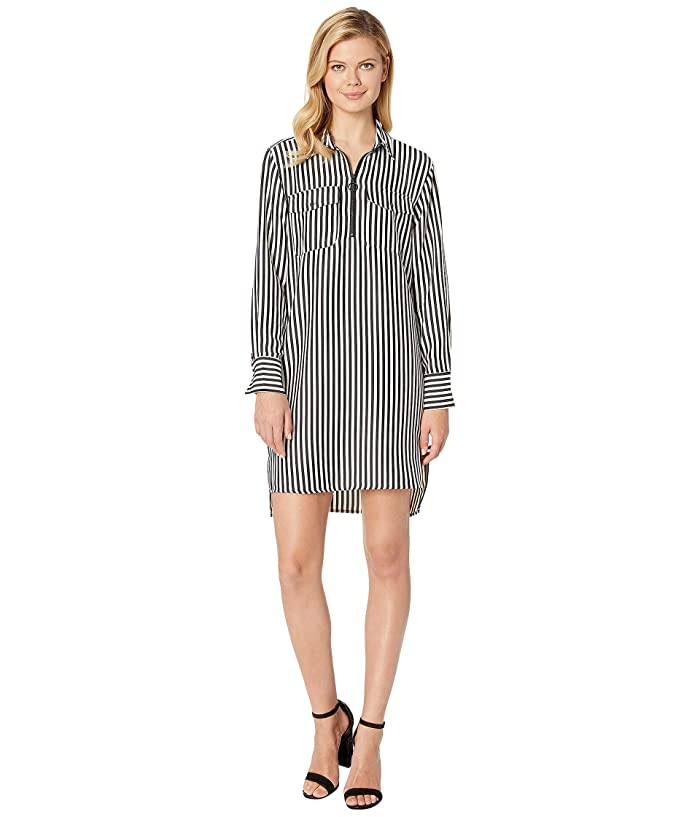 Kenneth Cole New York Zip Front Dress (Downtown Stripe Black E-Cream) Women