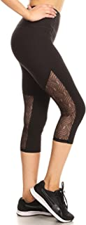 Womens Yoga Capris Sports Leggings Activewear Bottoms With Mesh And Criss Cross Straps