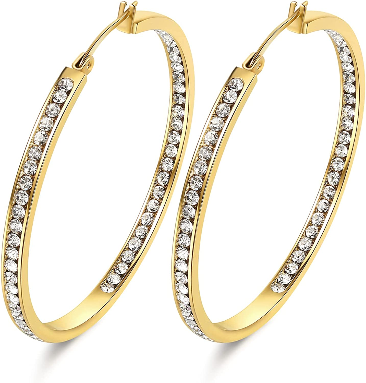 weinuo 2 Inch Stunning Stainless Steel Mult-colors Cubic Zirconia Hoop Earring for Women Hypoallergenic Jewelry for Sensitive Ears Large Big Hoop Earrings 50MM
