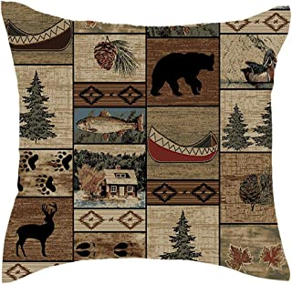 Jimrou Throw Pillow Cover 18x18inches Festival Gifts Wood Cabin Wild Animals Bear Deer Paw Prints Forest Wildlife Cotton Linen Decorative Home Sofa Chair Car Square Throw Pillow Case Cushion Cover