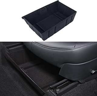Carwiner Under Seat Storage Box for Tesla Model Y Under Front Driver Seat Organizer Tray Flocking Accessoies (Double-sided...