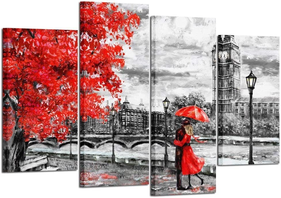 Amazon.com: Kreative Arts 4pcs Contemporary Wall Art Black White and Red Umbrella Couple in Street Big Ben Oil Painting Printed on Canvas Romantic Picture Framed Artwork Prints for Walls Decor 48x33inch: Posters