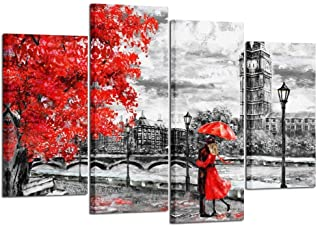 Kreative Arts 4pcs Contemporary Wall Art Black White and Red Umbrella Couple in Street Big Ben Oil Painting Printed on Canvas Romantic Picture Prints for Walls