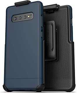 Encased Galaxy S10 Plus Belt Clip Holster Case (2019 Slimshield) Ultra Slim Protective Grip Cover with Holder for Samsung Galaxy S10+ - Navy Blue