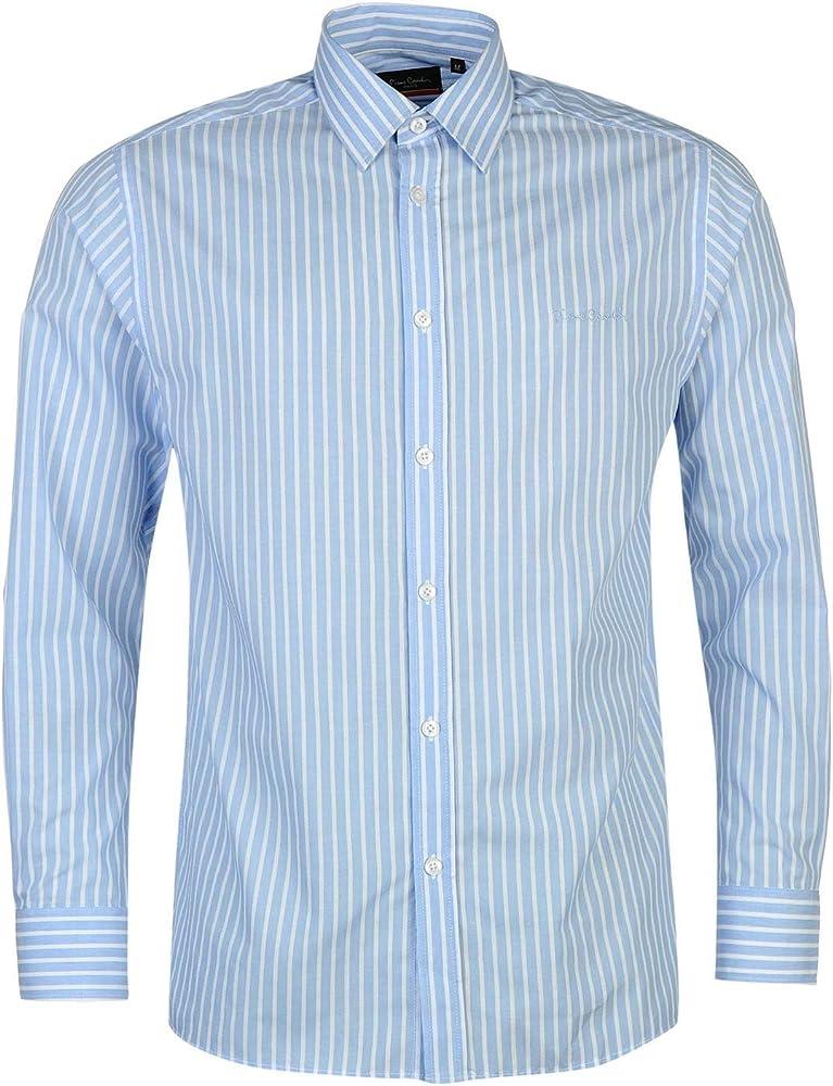 Pierre cardin, camicia manica lunga da uomo, 65% poliestere, 35% cotone, blu/bianca a righe