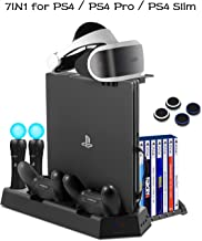 PS4 Vertical Stand Cooling Fan Universal for PlayStation 4 Slim PS4 Pro Consoles Dualshock4 Controller Charging Station for PS Move Motion Charger Dock with Game Discs Storage Holder, PSVR Glass Tray