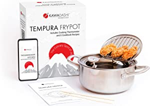 KawaDashi Tempura Deep Fryer - Mini Deep Fryer Pot With Temperature Control, Food Grade 304 Stainless Steel Deep Frying Pot, Dishwasher Safe With E-Cookbook Included (Over 20 Recipes)