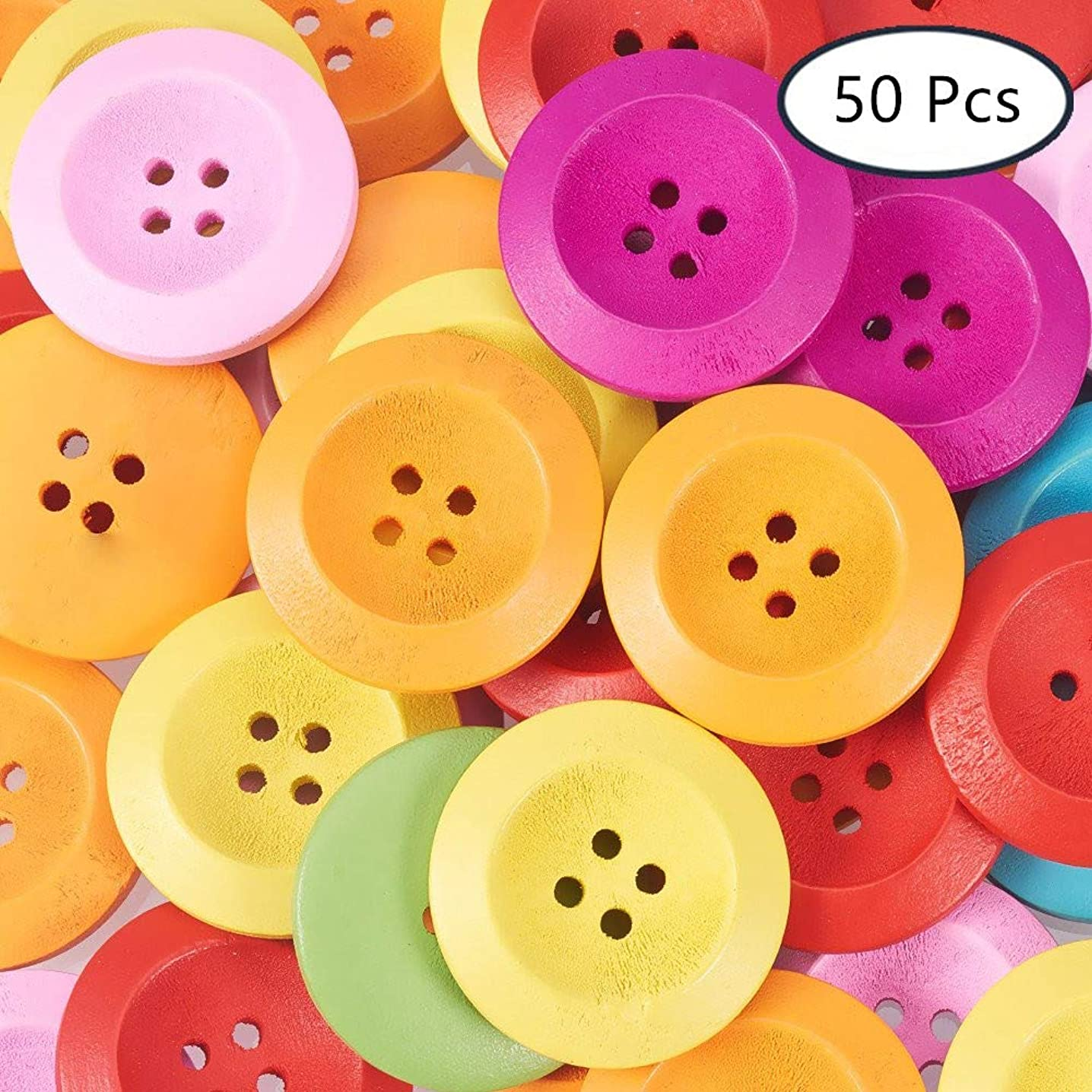 SUNNYCLUE 50PCS 4 Hole Assorted Color Flat Round Wooden Buttons for Sewing Scrapbooking Embelishments Crafts Jewellery Making Knitting 25mm