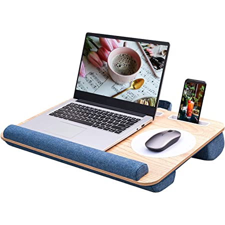 Rentliv Laptop Tray - With Cushion Mouse Pad Pen Tablet Phone Holder Fits Up to 17 Inch Laptop, Home Office Lap Tray - Blue