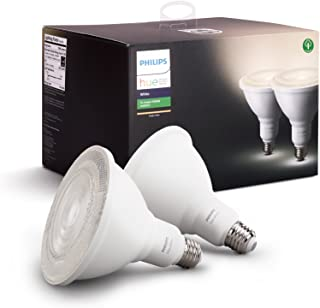 Philips Hue White Outdoor PAR38 13W Smart Bulbs (Philips Hue Hub required), 2 White PAR38 LED Smart Bulbs, Works with Alex...